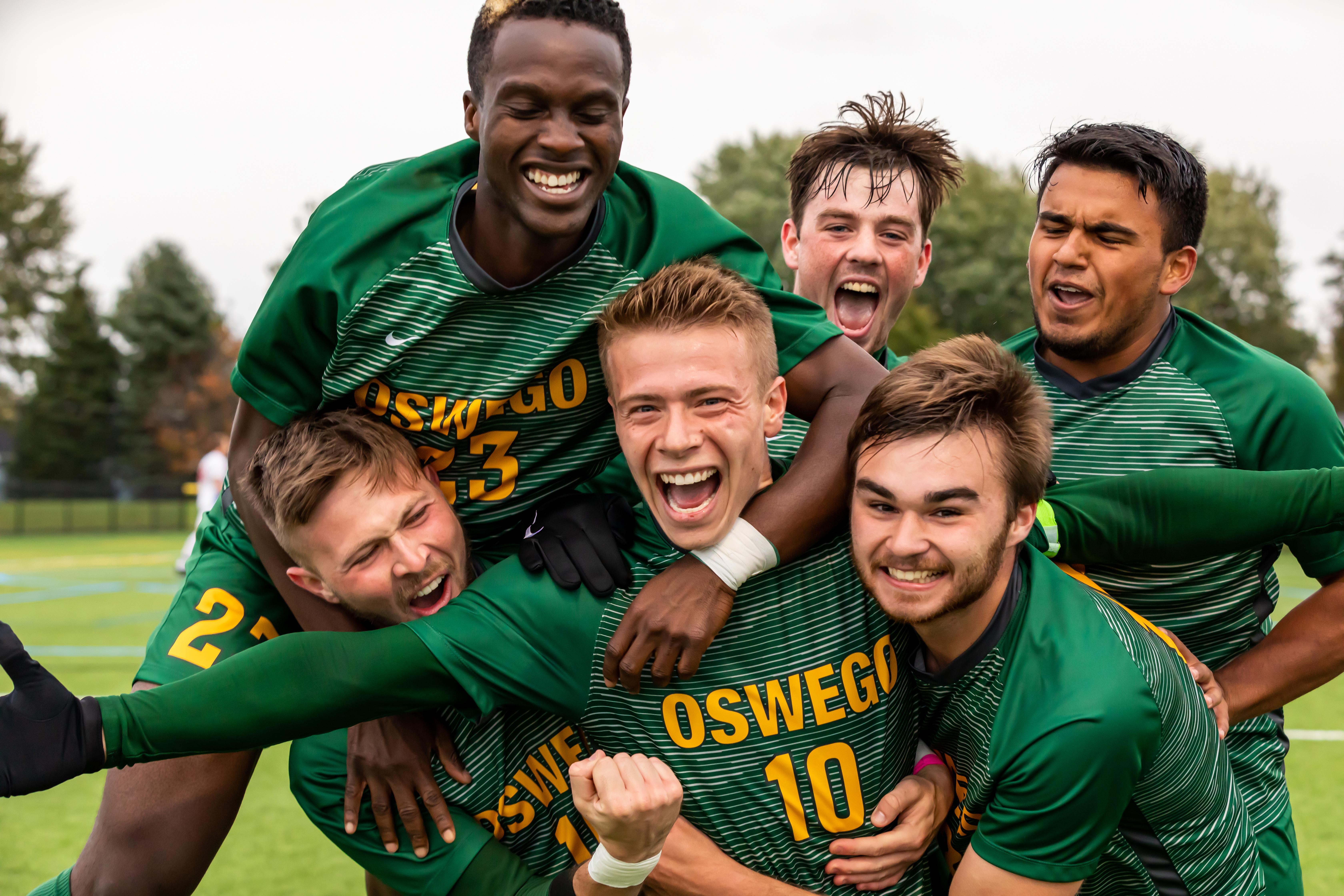 Men's Soccer Celebrates a Win