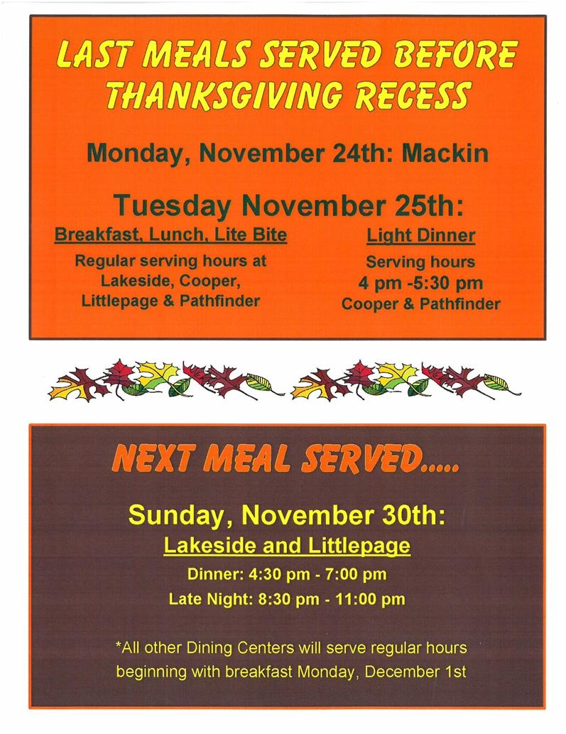 Fall Break serving hours