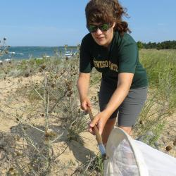 Stephanie Facchine conducting research around the Great Lakes
