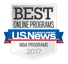 US News best online mba program badge