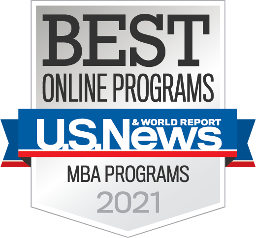 U.S. News Badge - Best Online Programs MBA Programs 2021
