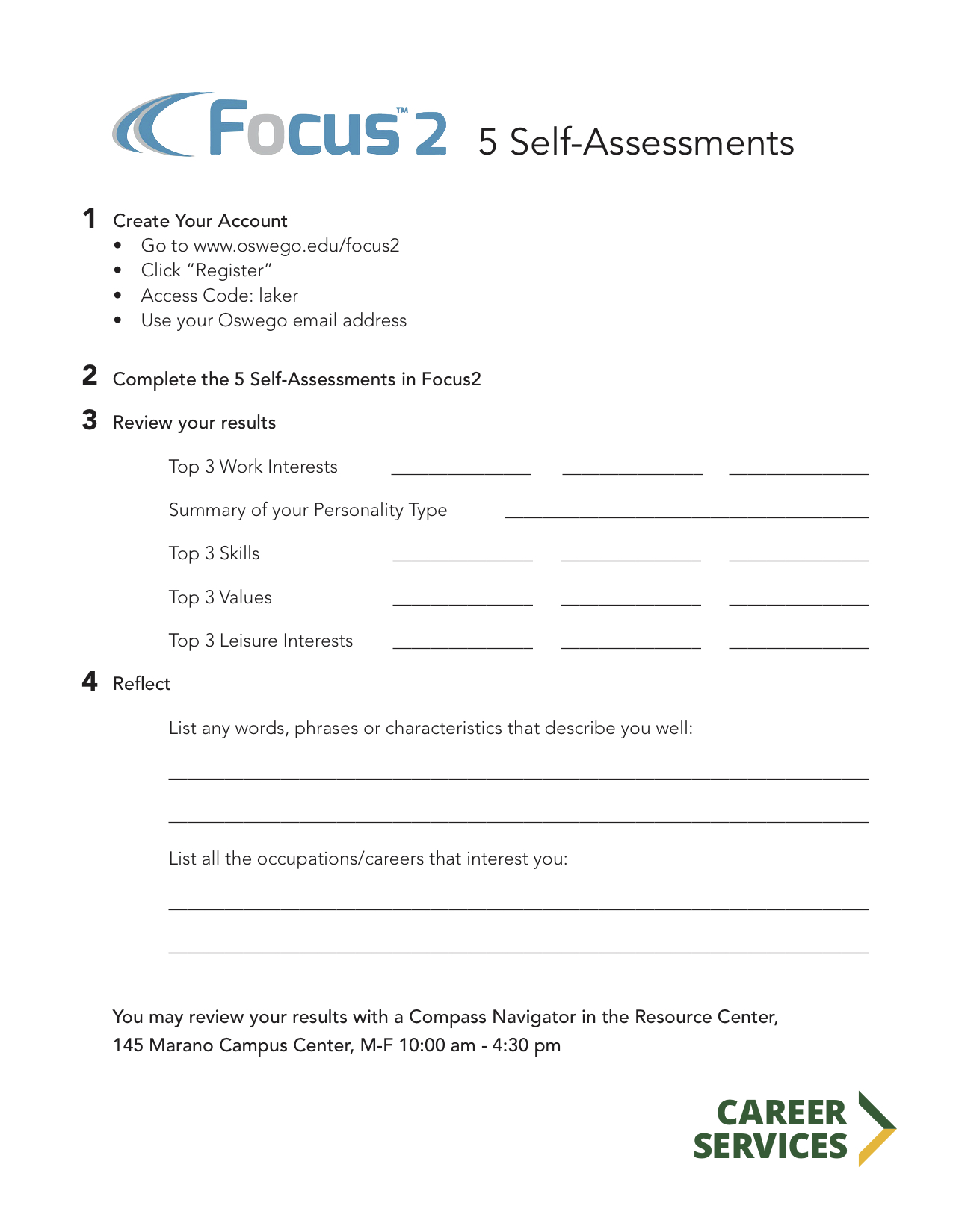 self assessment suny oswego career services self assessments activity