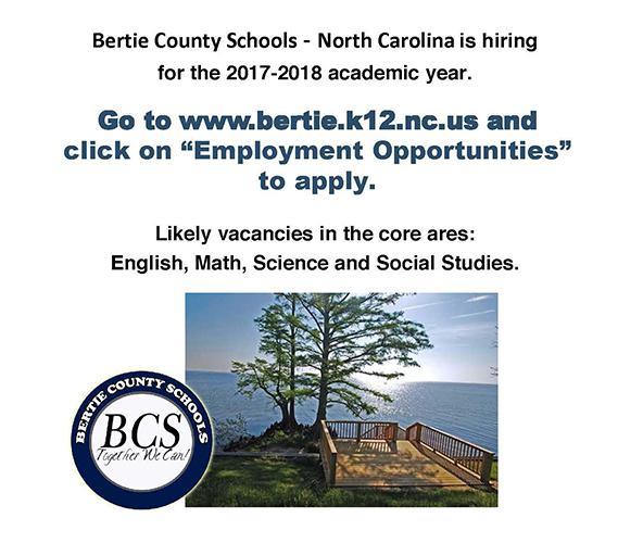 Bertie County (North Carolina) Teacher Recruitment 2017-2018