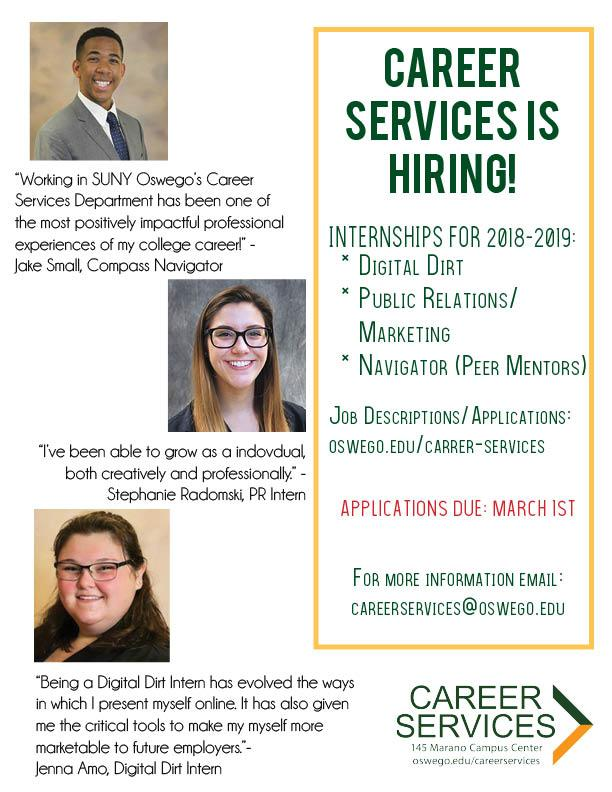 Career Services is Hiring - Come to the Student Involvement Fair - Wed. Jan 31st 11am-4pm in the Swetman Gym