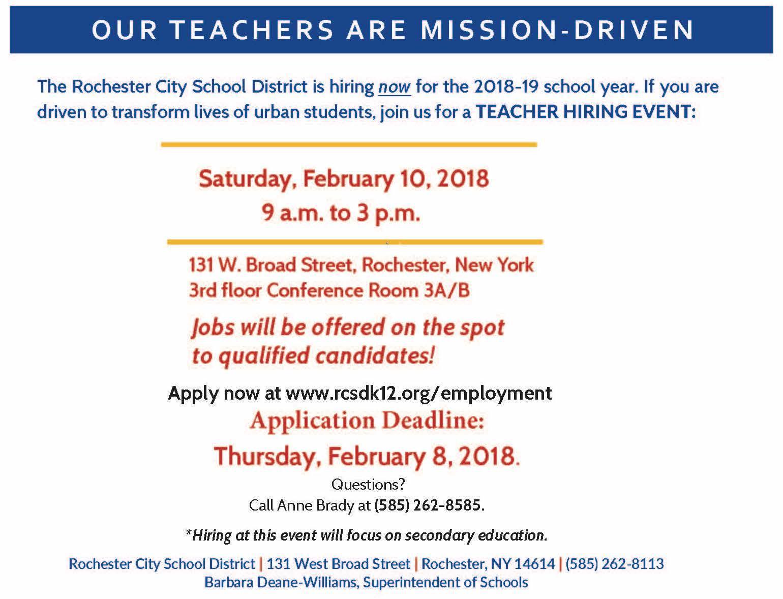 Rochester Teacher Hiring Event