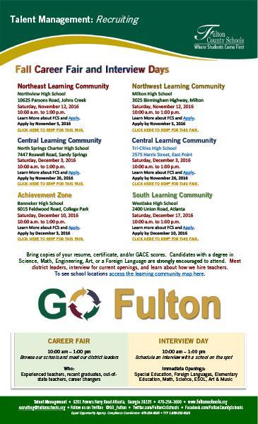 Metro Atlanta - Fulton County Schools Recruitment Days