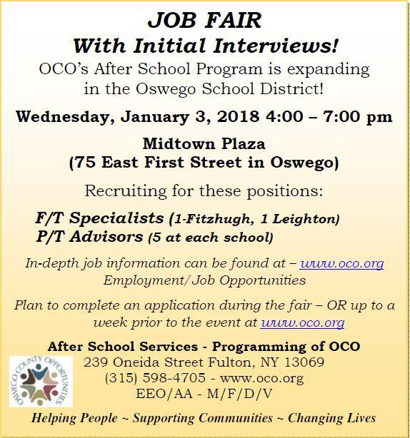 Oswego County Opportunities Job Fair - Jan 3, 2018 4pm-7pm