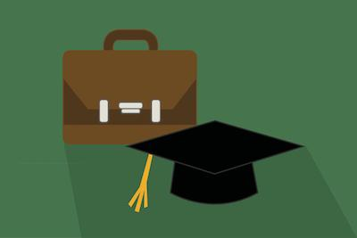 Picture of a briefcase and graduation cap