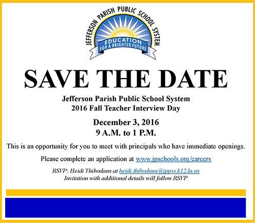 Jefferson Parish Public Schools Fall Teacher Interview Day
