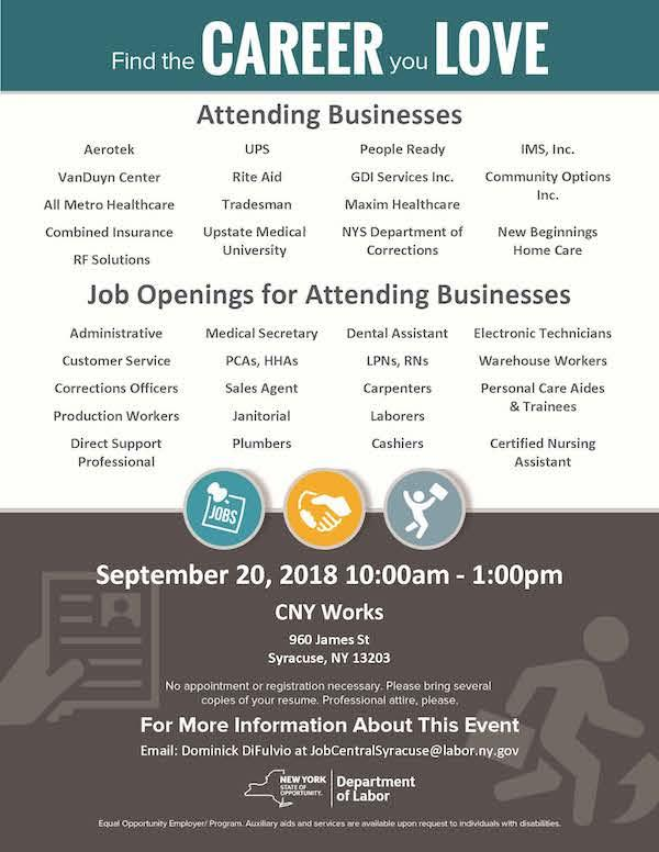 Syracuse Mini Job Fair - Sept. 20th
