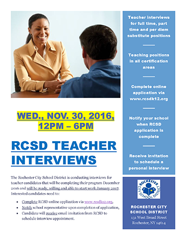 Rochester City School District Teacher Interview Day - Interview Times Expanded