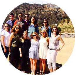 Students in front of the Hollywood sign