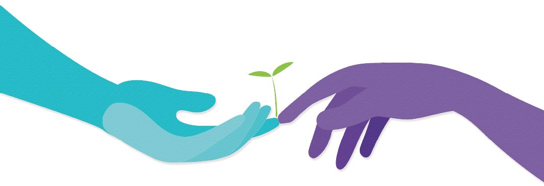 Two hands reaching out to each other, and a sprout growing from where the two fingers touch.