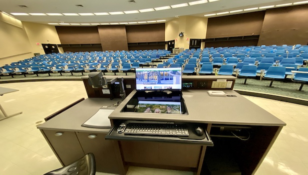 Photo of the podium in the classroom including the podium PC/Touch Panel & Doc cam
