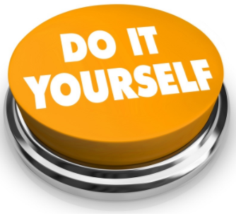 "Button with the text ""Do it Yourself"" written on top."