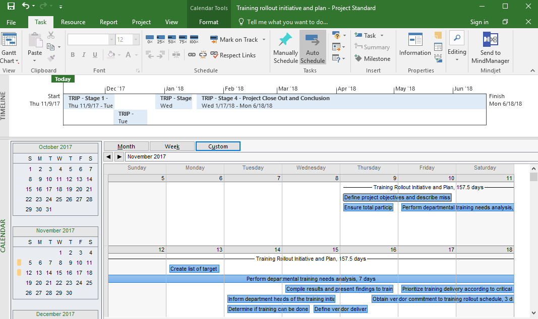 MS Project snapshot of calendar.