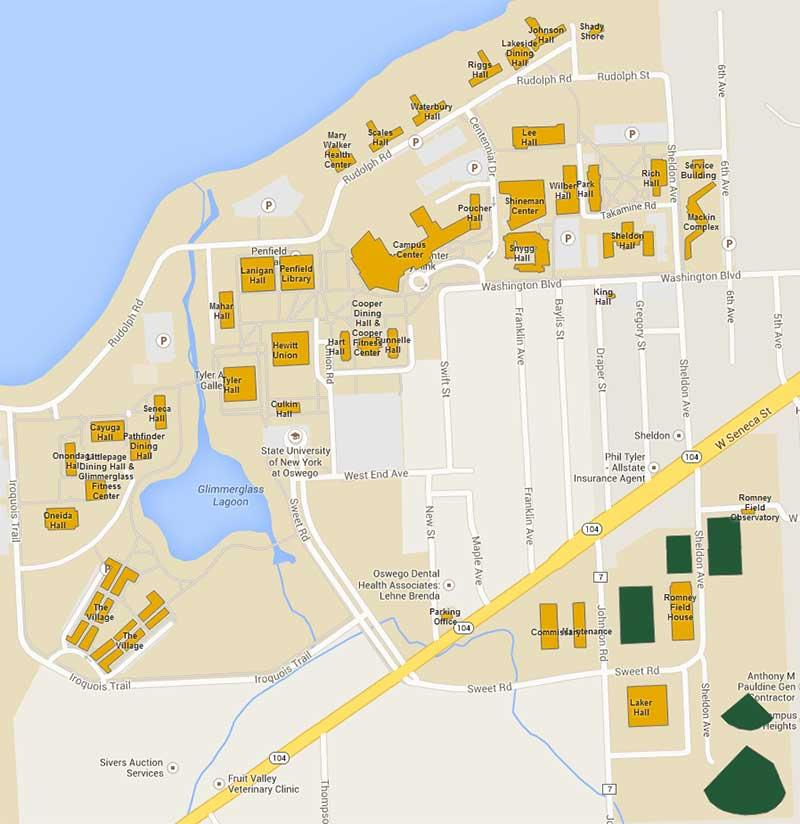 Map of wireless locations on campus.