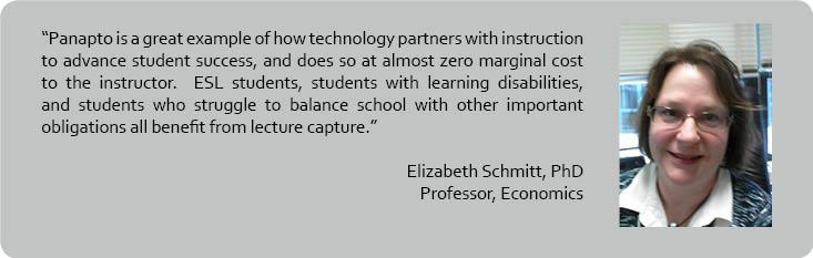 Liz Schmidt quote regarding her positive experience with Panopto