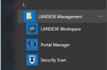 Screenshot of Windows 10 menu with Landesk icons.