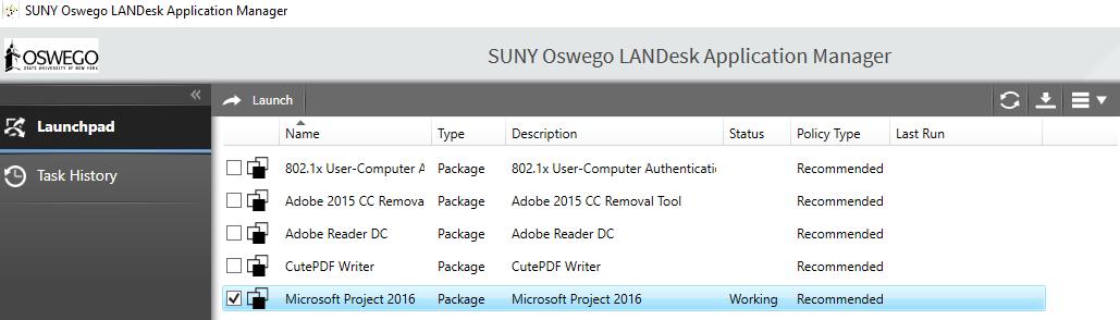 Screenshot of Landesk Application Manager.