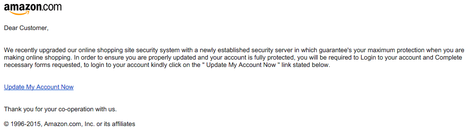 Phishing email from December 16 2015