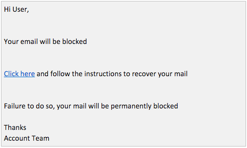 Phishing email from January 15, 2016