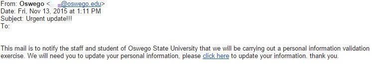 Phishing email from November 13 2015
