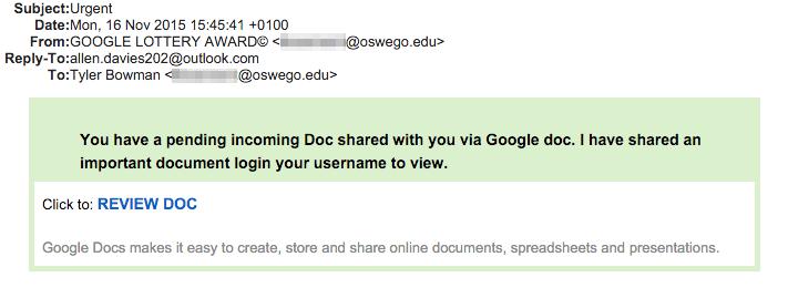 Phishing email from November 16 2015