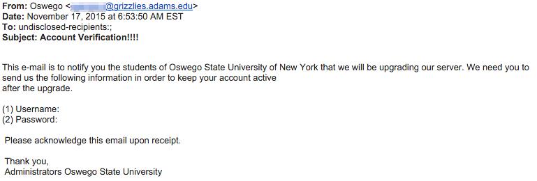 Phishing email from November 17 2015