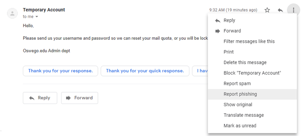 Gmail email message menu with report phishing option