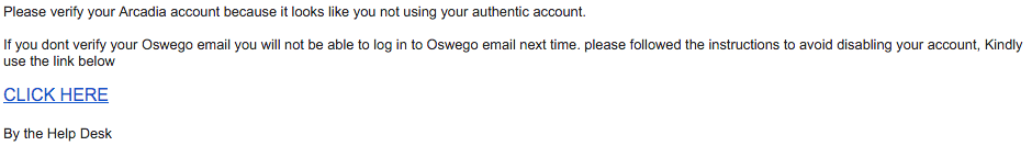 Phishing email from February 5, 2016