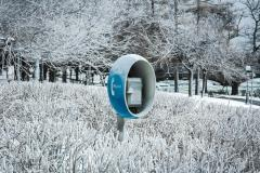 Payphone in the cold.