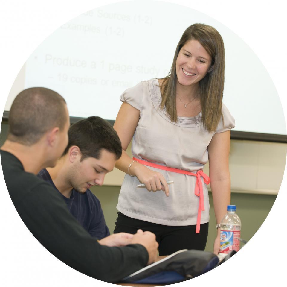 Teacher advising student