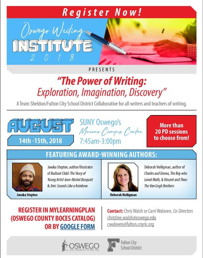 Oswego Writing Institute. Date:  August 14-15, 2018 Location: SUNY Oswego Marano Campus Center Time: 7:45am-3pm