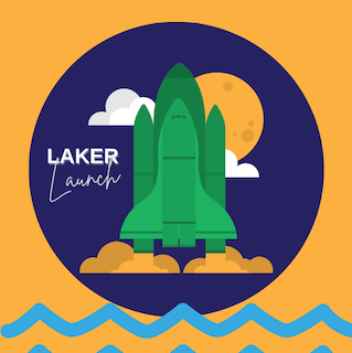 "picture of rocket with text ""laker launch"""