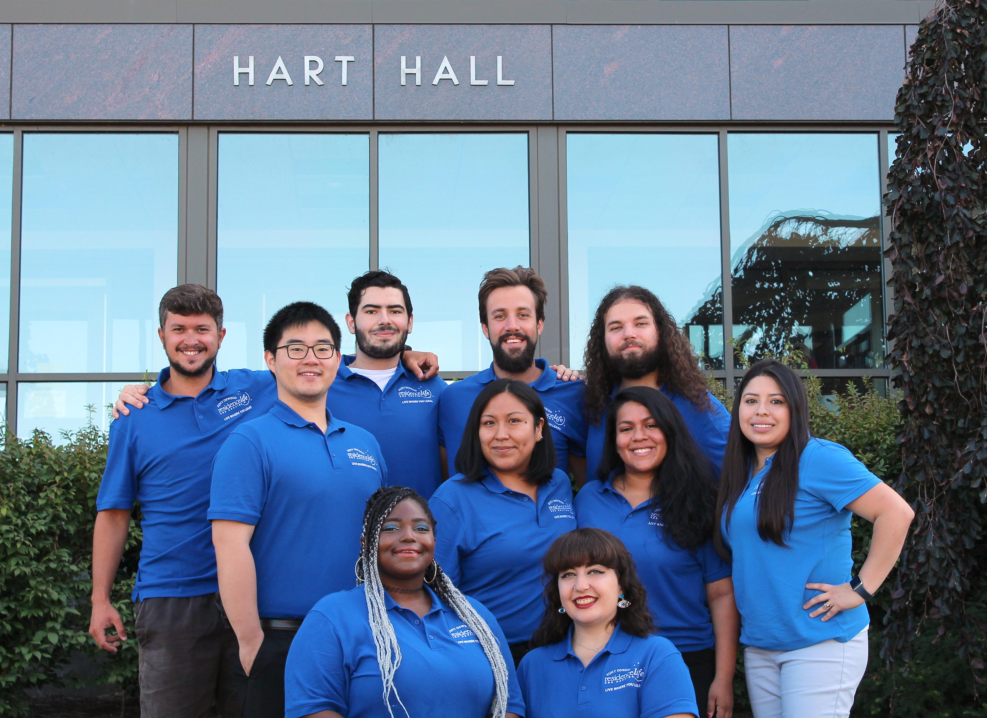 Hart Hall Resident Student Staff group photo. We're ready to welcome you!