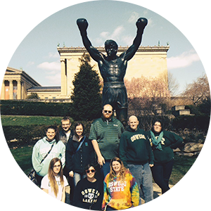 History students at the Rocky statue in Philadelphia, PA