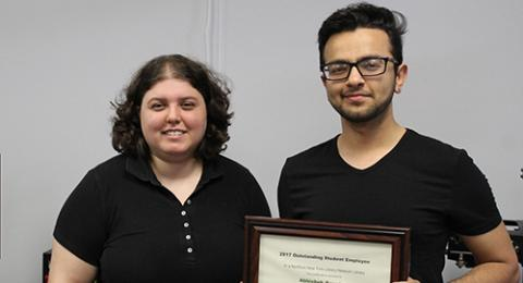 Abhishek Rauniyar won the Northern New York Library Network's Outstanding Student Employee Award.