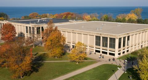 Aerial view of Penfield Library
