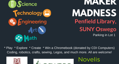Library Event: Maker Madness March 3, 2018 1-5pm