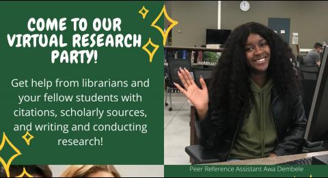Come to our Research Party! October 12th, 5-7 pm. Sign up for a time slot now.