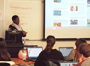 Librarian teaching an instruction session.