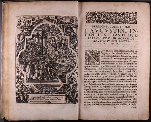 Rare book with heading: PERIOCHE ICONIS PRIMAE / I. AVGVSTINI INFANTILIS AETAS.