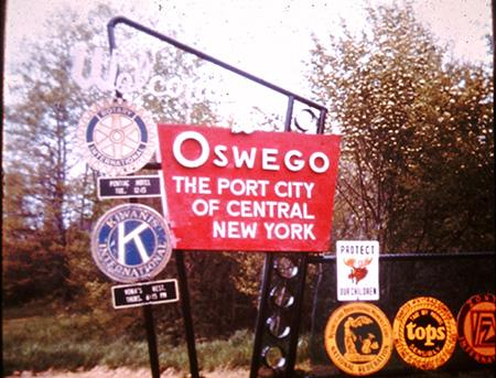 Vintage city sign: Welcome to Oswego The Port City of Central New York
