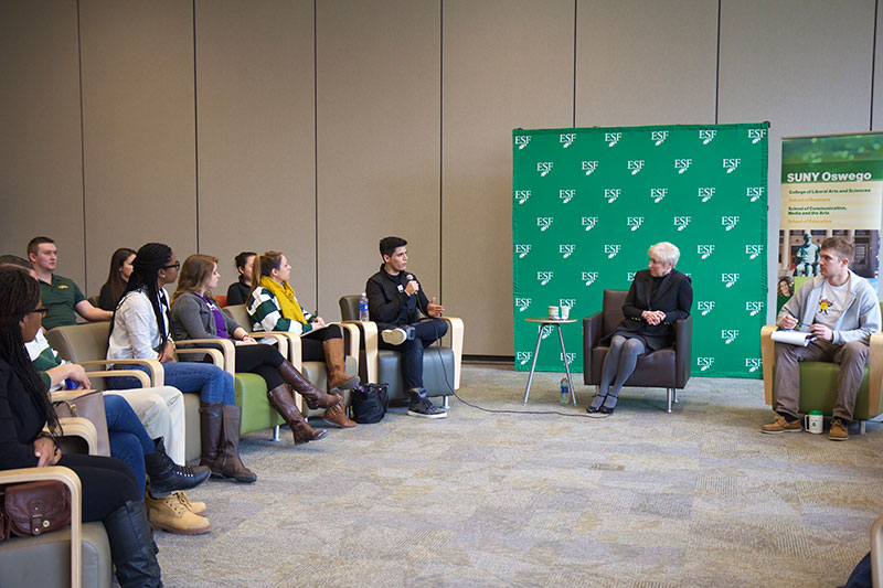 Students having discussion with Chancellor Nancy Zimpher