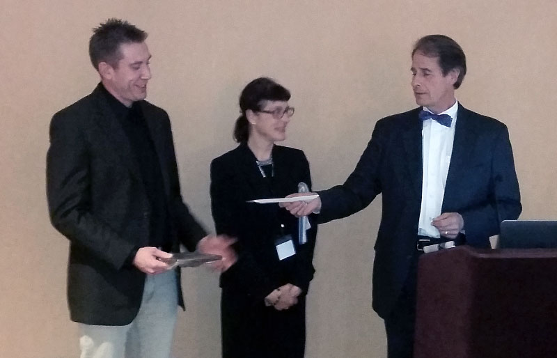 Brandon Metroka accepting award for best paper