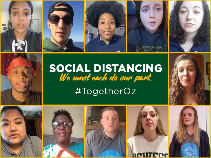 Photos of students with words: Social Distancing: We must each do our part #TogetherOz