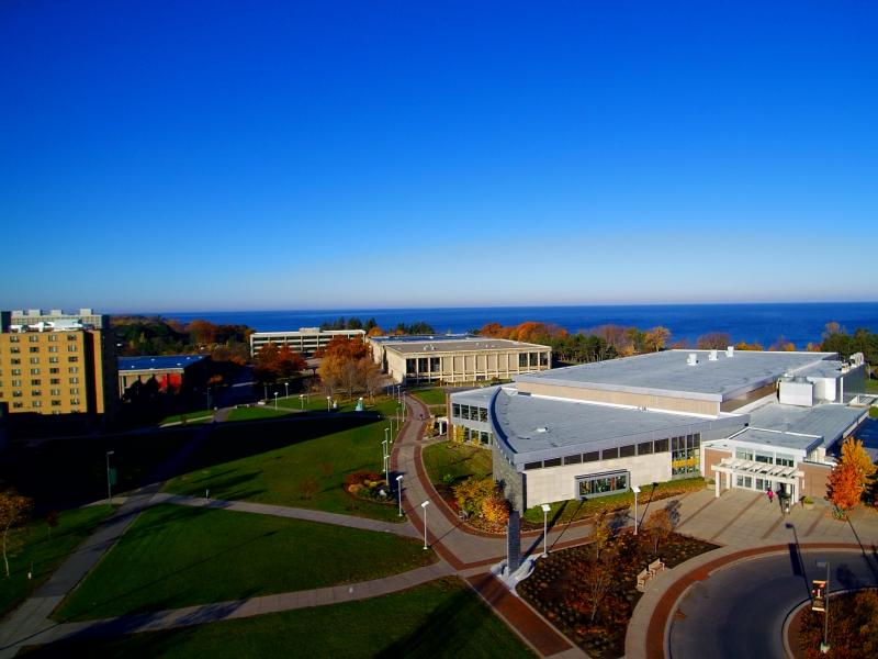 Aerial view of Marano Campus Center and central campus