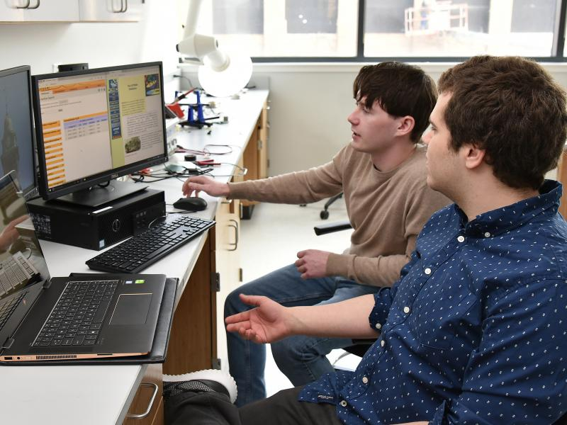 Students work on computer programming project