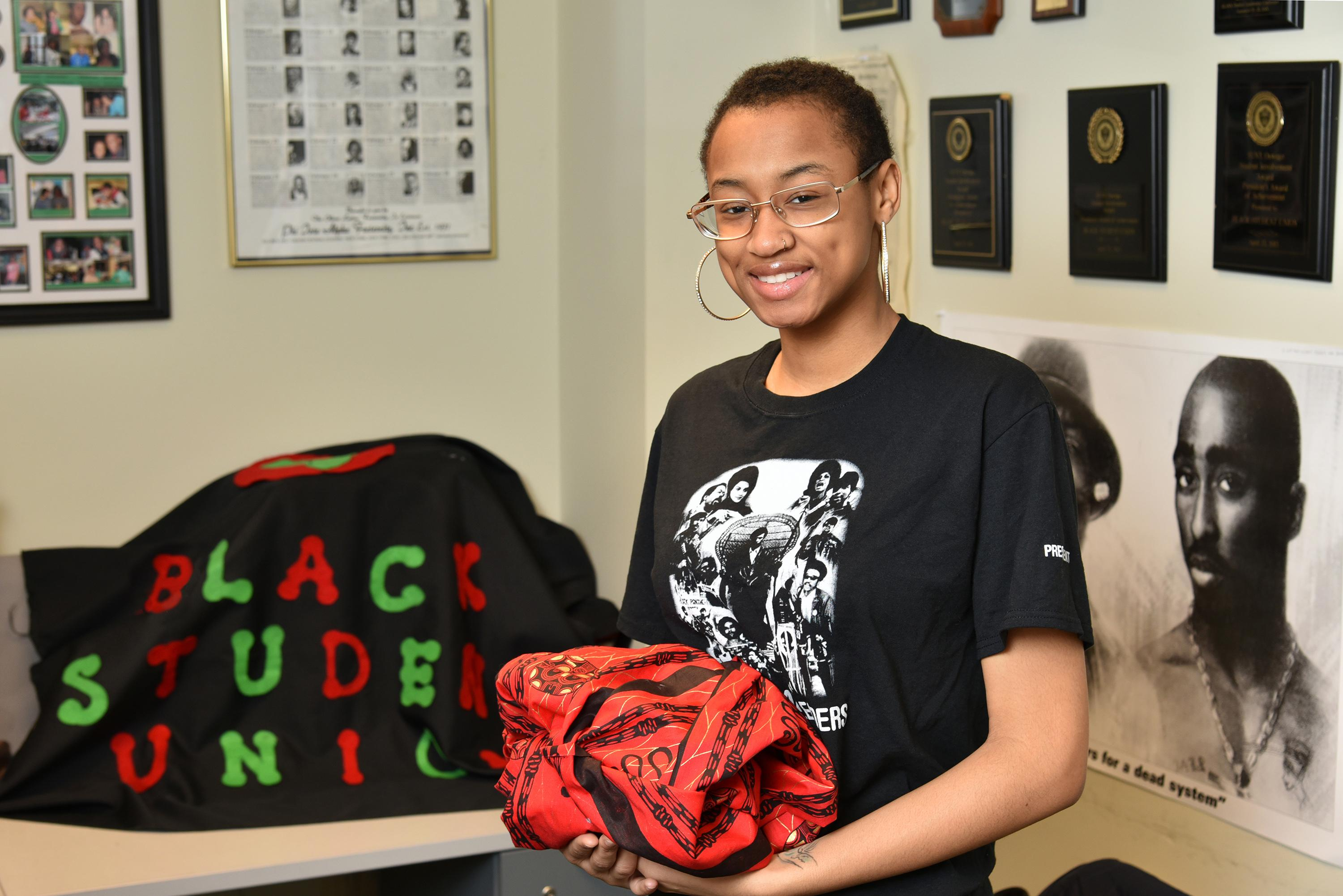 Black Student Union president Keonna Wren in the organization's offices